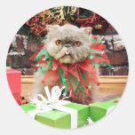 Christmas - Persian Cat - Frannie Round Sticker