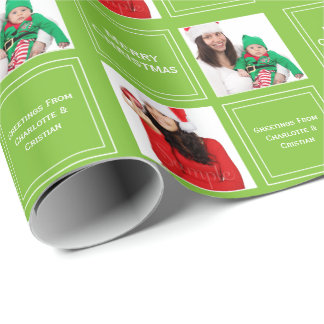 Christmas Personalized Bright Green Wrapping Paper