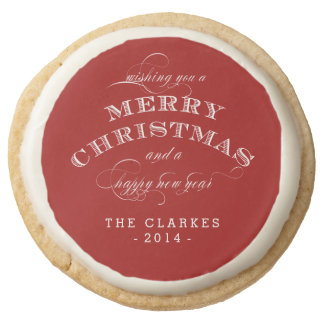 CHRISTMAS PERSONALIZED HOLIDAY COOKIES ROUND PREMIUM SHORTBREAD COOKIE
