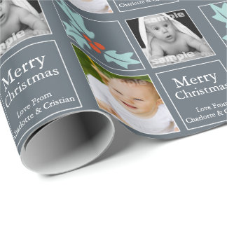 Christmas Personalized Holly Grey Wrapping Paper