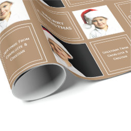 Christmas Personalized Photo Template Brown Wrapping Paper