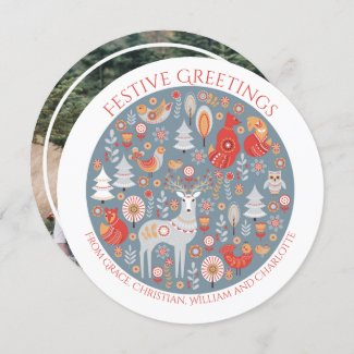 Christmas Personalized Scandinavian Nordic Forest Holiday Card
