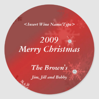 Christmas Personalized Wine Label Round Stickers
