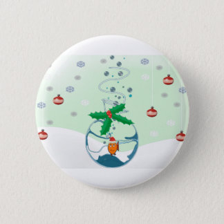 Christmas Pet Fish In a Bag Holly Emblelichments Pinback Button