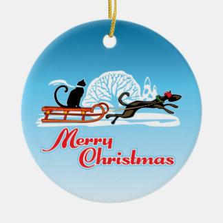 Christmas Pet Parade Ceramic Ornament