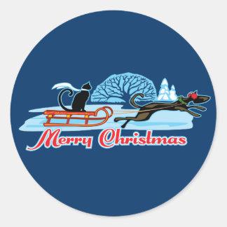 Christmas Pet Parade Classic Round Sticker