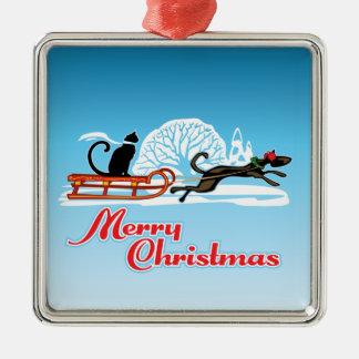 Christmas Pet Parade Metal Ornament