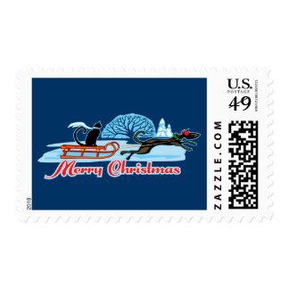 Christmas Pet Parade Postage Stamp