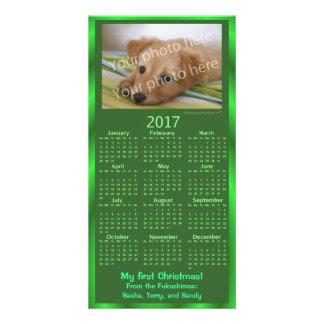 Christmas Pet Photo Card 2017 Calendar Green Xmas