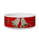 Christmas Pewter Bells Cat Water Bowl