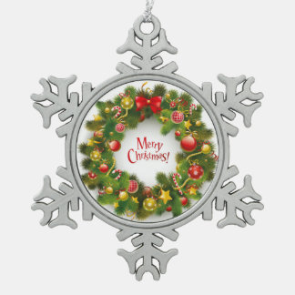 Christmas Pewter Snowflake Ornament/Wreath Snowflake Pewter Christmas Ornament