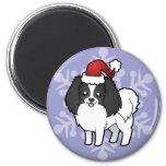 Christmas Phalene / Japanese Chin Fridge Magnets