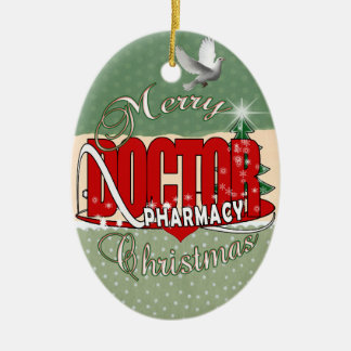 CHRISTMAS PHARMACY DOCTOR Double-Sided OVAL CERAMIC CHRISTMAS ORNAMENT
