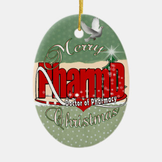 CHRISTMAS PharmD Doctor of Pharmacy Double-Sided Oval Ceramic Christmas Ornament