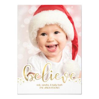 Christmas Photo | Believe Faux Gold Foil Effect Card