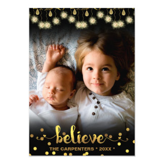 Christmas Photo BELIEVE Gold Sparkling Lights Card