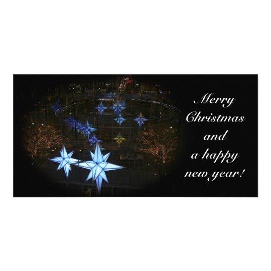 Christmas photo card - blue star