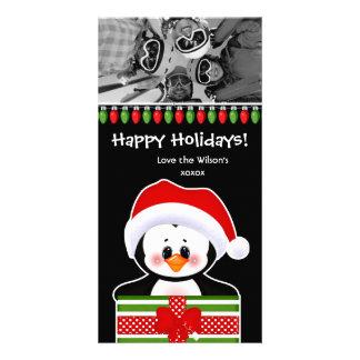 Christmas Photo Card Cute Penguins
