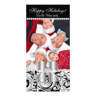 Christmas Photo Card Damask Swirls Jewel Bow BW