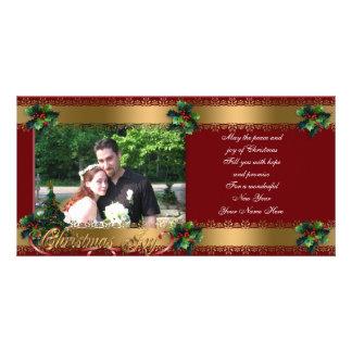 Christmas photo card elegant  gold classic