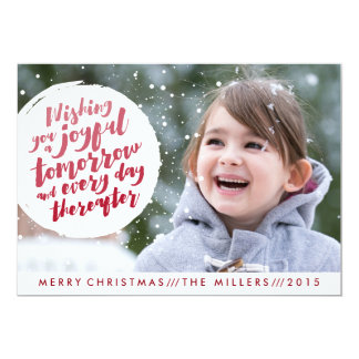Christmas photo card featuring a snowball