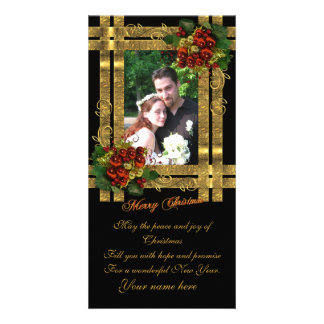 Christmas photo card gold elegance