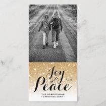 Christmas Photo Card Gold Ombre Glitter Joy Peace