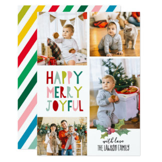 Christmas Photo Card - Happy, Merry, Joyful
