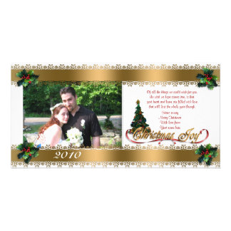 Christmas photo card holly and  gold ribbons