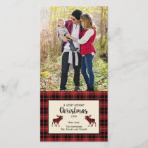 Christmas photo card in red and black plaid