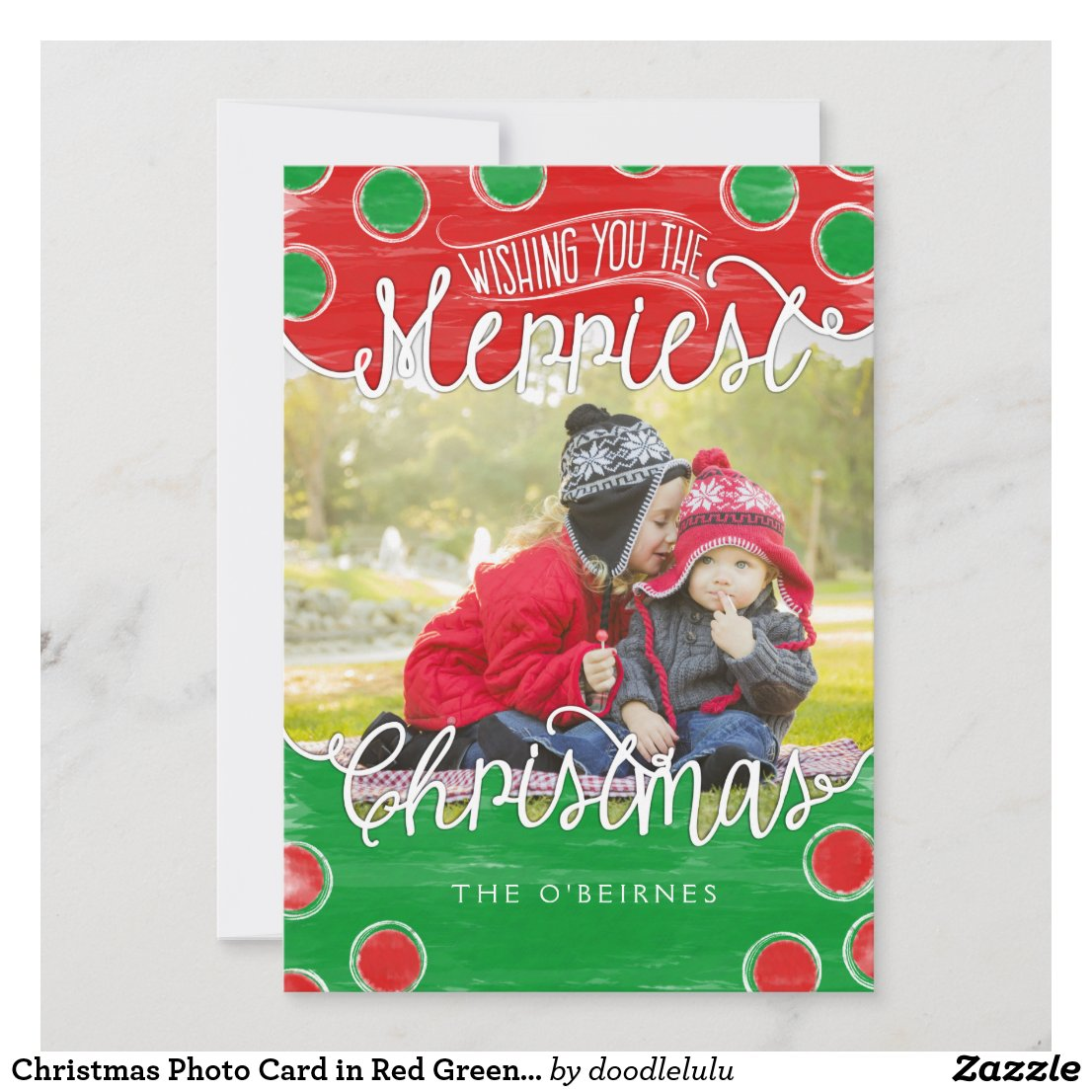 Christmas Photo Card in Red Green Watercolor Dots