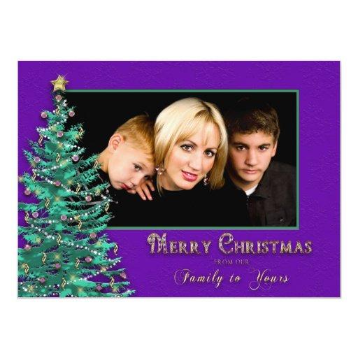 Christmas Photo Card - Large -  Tree - Purple Personalized Invite