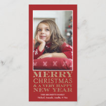 Christmas Photo Card - Merry Christmas Gold