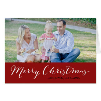 Christmas Photo Card - Merry Christmas - Red