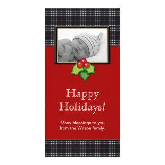 Christmas Photo Card Plaid Black Red
