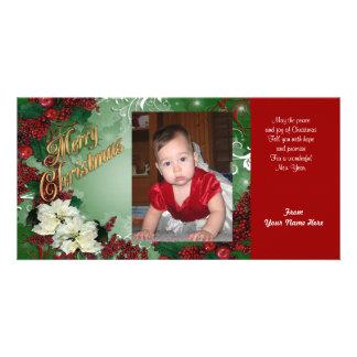 Christmas photo card poinsettias