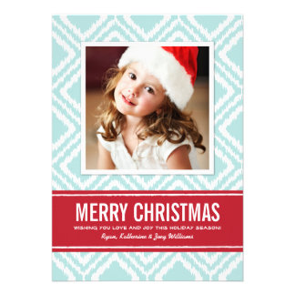 Christmas Photo Card   Red and Blue Ikat Pattern