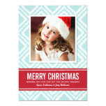 Christmas Photo Card | Red and Blue Ikat Pattern Custom Invitation