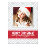 Christmas Photo Card | Red and Gray Ikat Pattern Custom Announcements