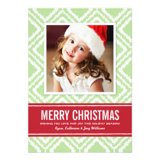 Christmas Photo Card | Red and Green Ikat Pattern