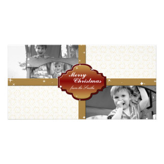 Christmas Photo Card - Red & Gold Gift Seal Stars