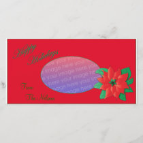 Christmas Photo Card Red Poinsettia