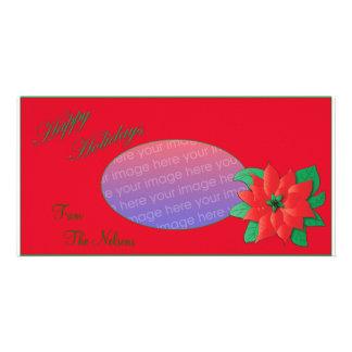 Christmas Photo Card Red Poinsettia