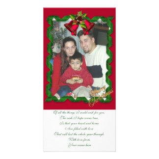 Christmas photo card Ribbons and bells