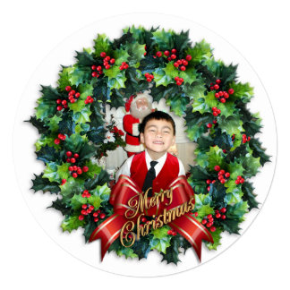 Christmas photo card round wreath