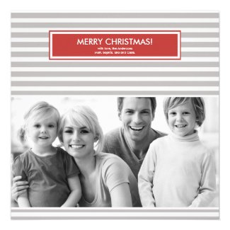 Christmas Photo Card - Stripes - Customizable Announcement