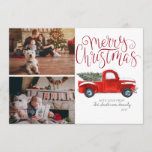 "Christmas Photo Card - Vintage Red Truck<br><div class=""desc"">Make this Christmas merry and bright with our Red Truck in Snow photo card. There is nothing like getting a personalized photo card in the mail. This tradition may seem a little old-fashioned to some, but many people still enjoy it. You can find kiosks at many big box stores that...</div>"