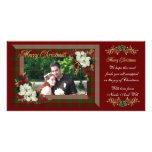 Christmas photo card white poinsettias