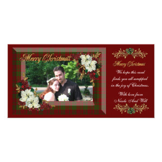 Christmas photo card white poinsettias