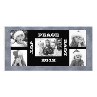 Christmas Photo Card with 5 photos Joy Peace Love